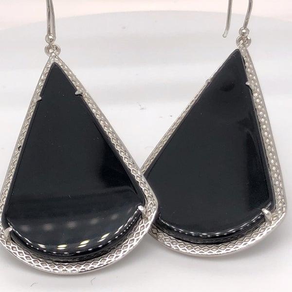 Black Onyx Teardrop Pendant Earrings