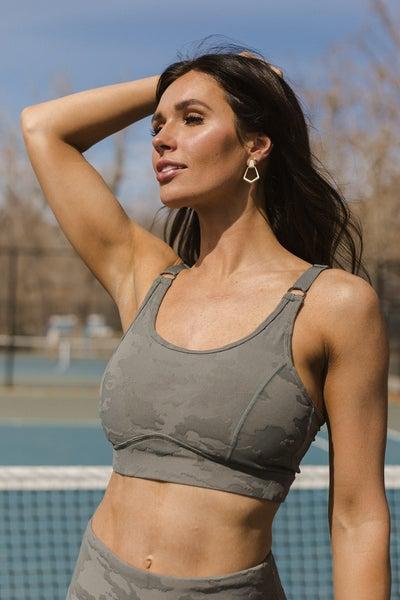 (2 Colors) Be Fierce Textured Camo Jacquard TACTEL® Sports Bra