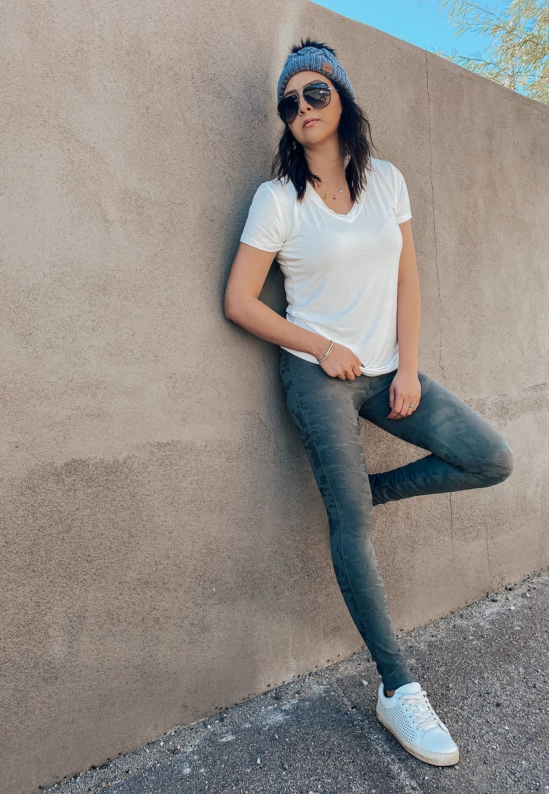 (XS-L) Textured Camo Jacquard High waist Leggings