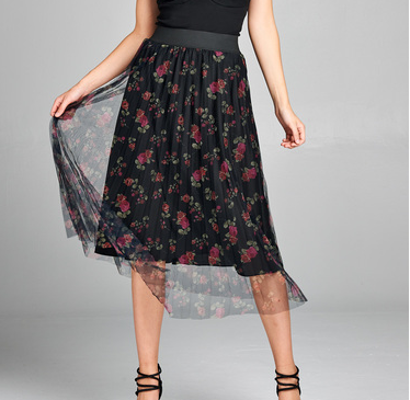 Floral Mesh Layered Skirt