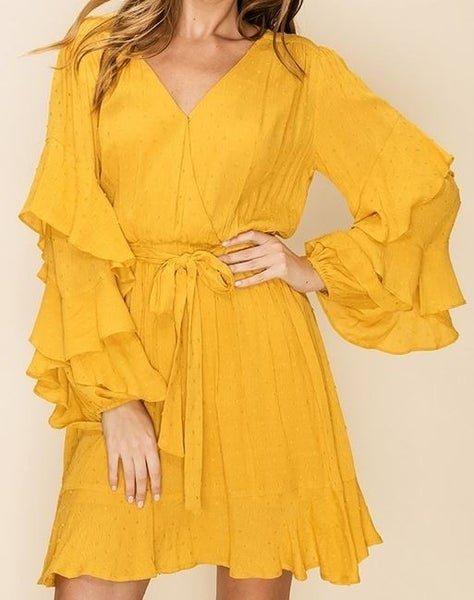 RUFFLE LONG SLEEVE TIE FRONT SURPLICE DRESS