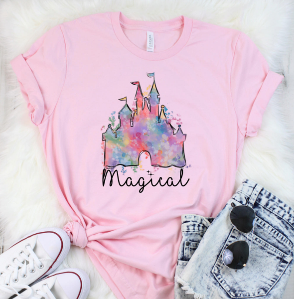 (S-3X)  Magical Castle Graphic Tee  PREORDER