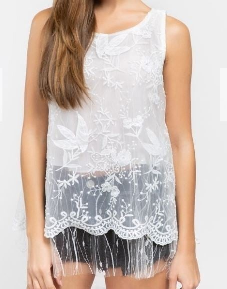 (NEW) POL Sleeveless Tulle Mesh Top with Inner Lining
