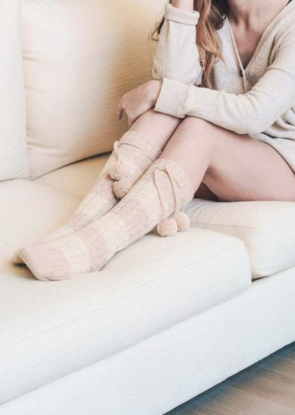 Knee High Striped Pom Pom Socks