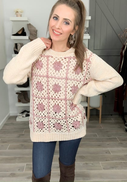 (1 L left!) POL Snow Place Like Home Quilted Sweater
