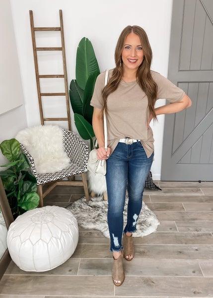 (1-3X) Destroyed Hem Ankle Skinny Jean