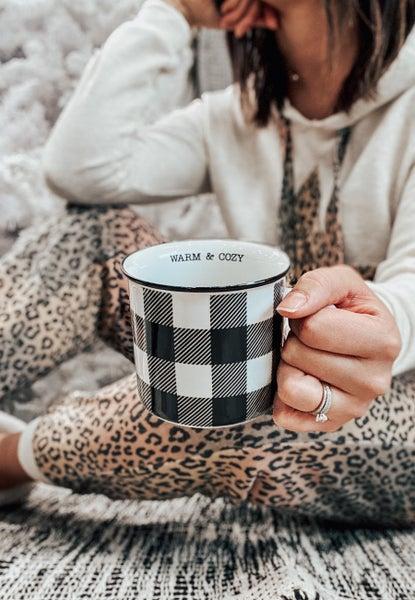 Warm and Cozy Check Mug 12oz