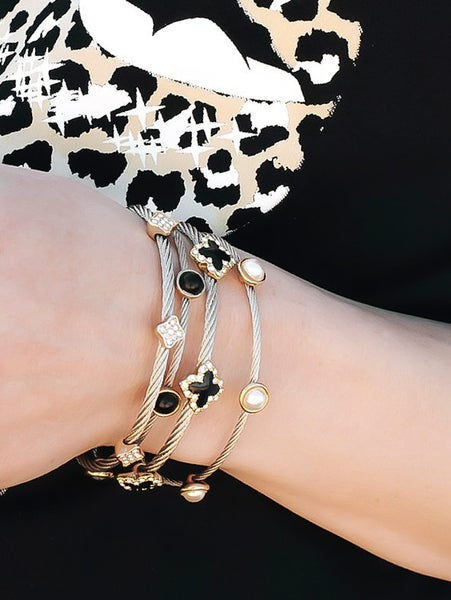 Thin Cable Two Toned Bracelets With Circle Stones