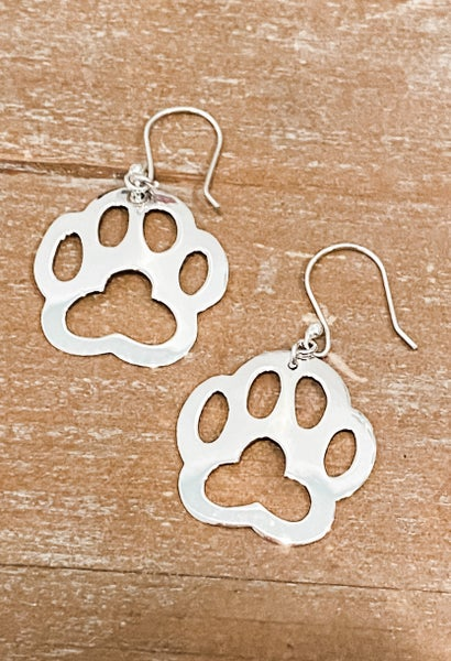 Pawsh Sterling Silver Pet Paw Earrings
