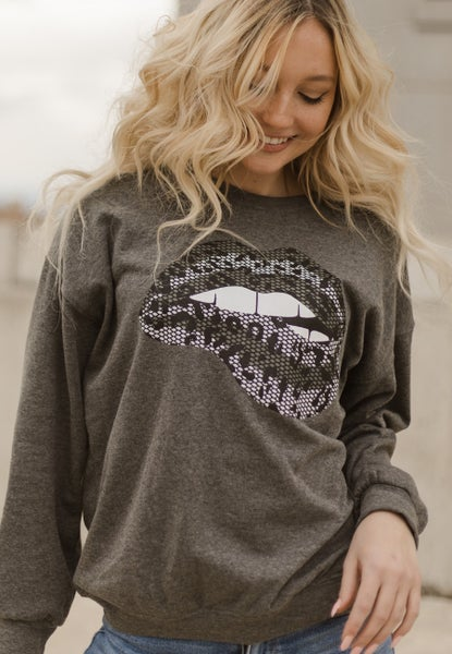 Lace Leopard Lip Sweatshirt