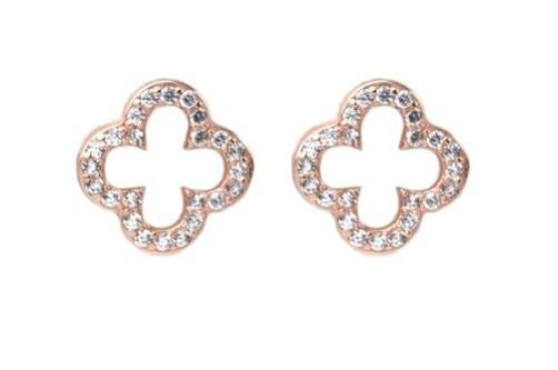 Sterling Silver CZ Open Clover Stud Earrings