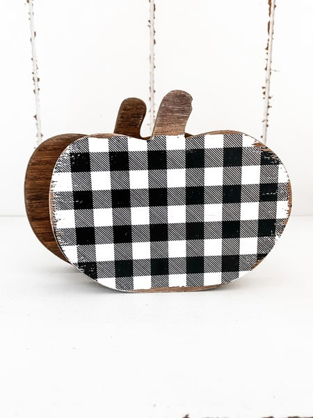 Large Black and White Checkered Wood Pumpkin