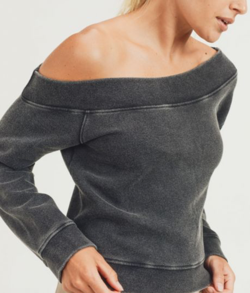 (3 Colors) Off-Shoulder Hi-Lo Mineral-Washed Pullover