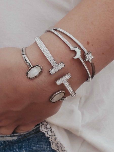 Moon & Star Celestial Charm Bangle Bracelet