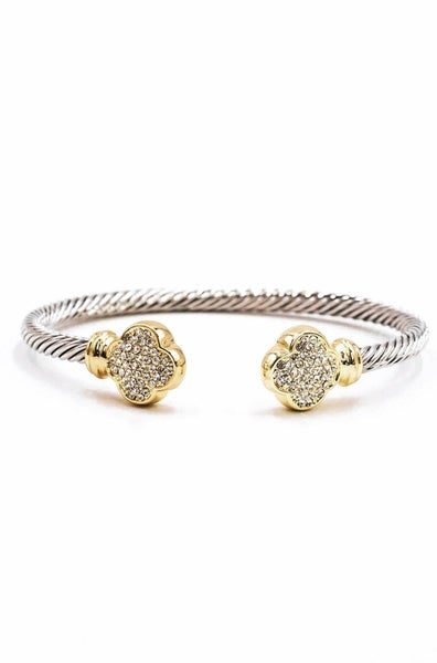 Two Tone Twisted Cable Clover Cuff Bracelet