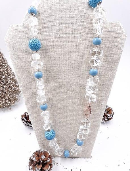 Natural Quartz with Sky Blue Detail Necklace