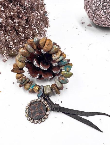 boho LV Upcycled Chip Beaded Bracelet with Pendant