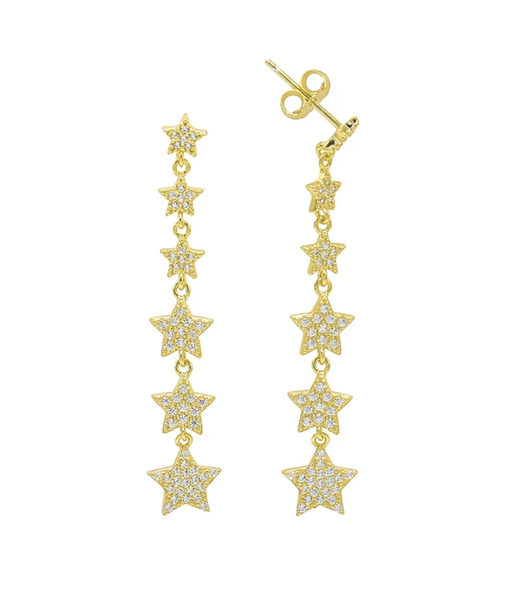 Vertical Drop Sterling Silver Star Earrings