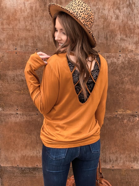 Strapback Cutout Long Sleeve Top