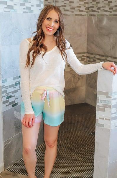 Tie Dye Mini Thermal Drawstring Shorts
