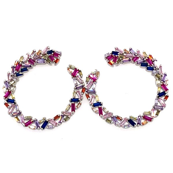 Pretty Purples Circle Baguette Crystal Hoop Earrings