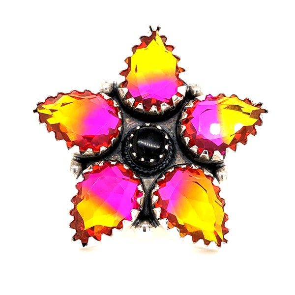 Pretty Pointed Yellow and Pink Glass Flower Sterling Silver Ring