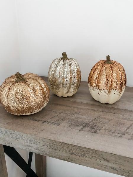 (4 Options!!)  Glitter Pumpkin Decor