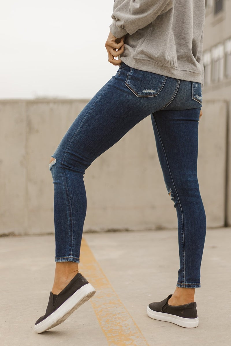 Mid Rise Distressed Skinny Ankle Jeans