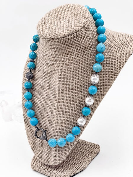 Howlite Turquoise Hematite Pave Necklace