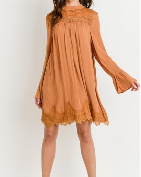 Lace Mock Neck Dress with Long Bell Sleeves