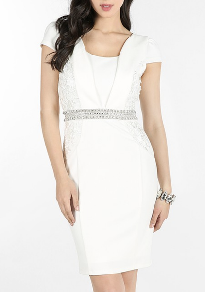 Embellished Waist Cap Sleeve Dress