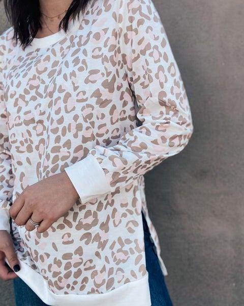 You Make Be Blush Leopard Long Sleeve