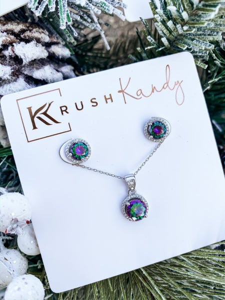 Silver Mystic Topaz Necklace and Earring Set