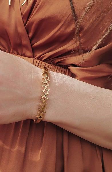 (Silver or Gold) Stainless Steel Star Bangle Bracelet