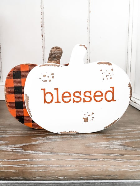 Blessed Distressed Wooden Pumpkin