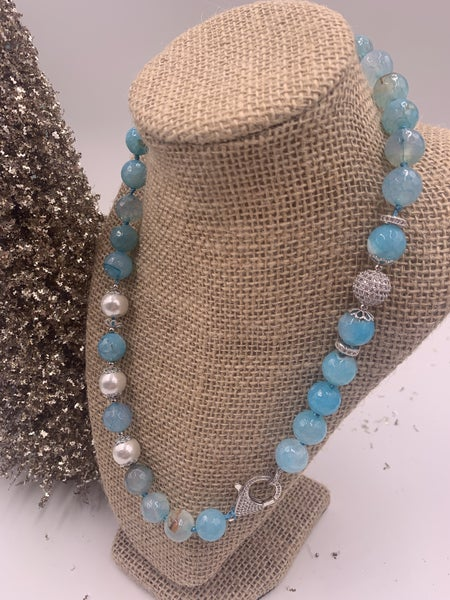 Blue Agate with Pave and Pearls
