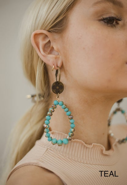(5 colors!) Vintage Inspired LV Up-cycled Beaded Dangle Earrings