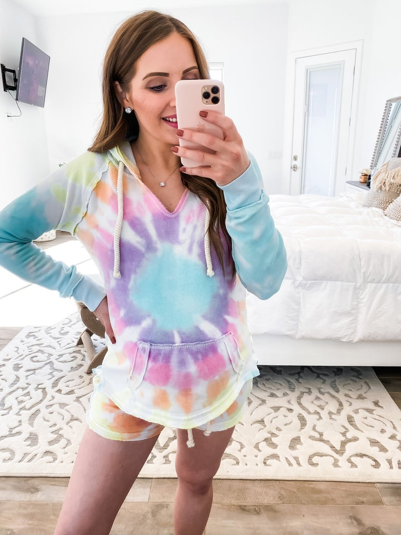 Totally Speechless Burnout Circle Tie Dye Hoodie
