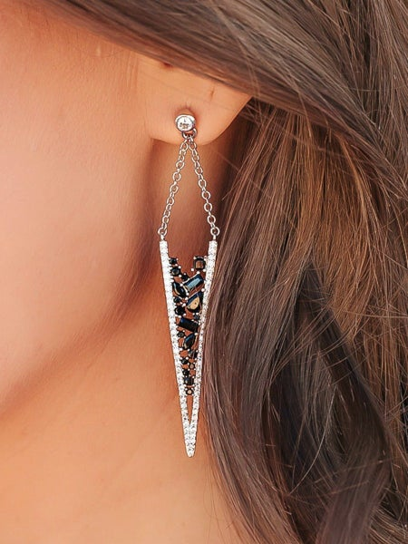 (2 colors) Frosted Swarovski Crystals Earrings