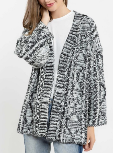 (1 left!) POL Knit Black and White Cardigan *Final Sale*