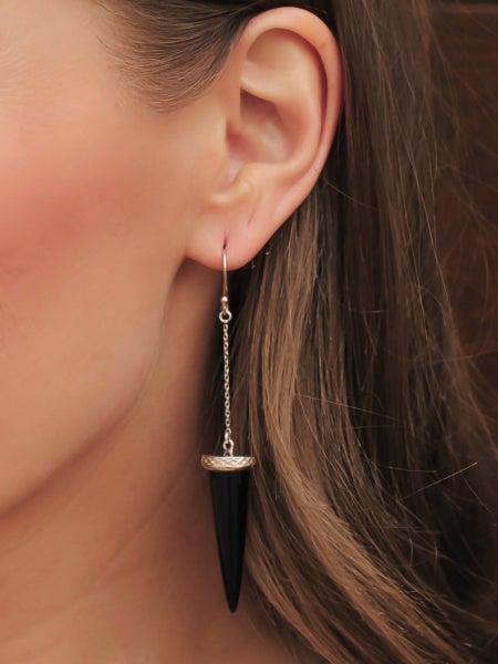 Black Onyx Spike Dangle Earrings