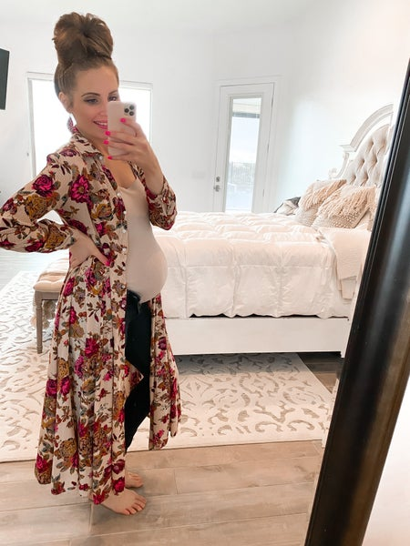 Romantic Boho Floral Print Kimono or Dress