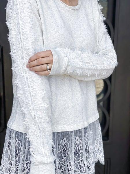 POL Pretty Lace Detail Sweater