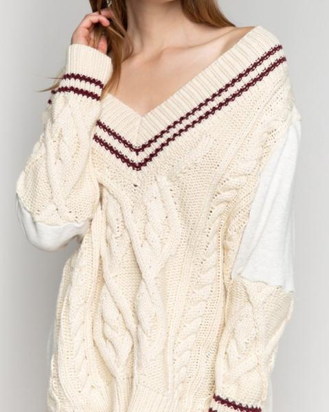 POL Varsity Knit V Neck Sweater