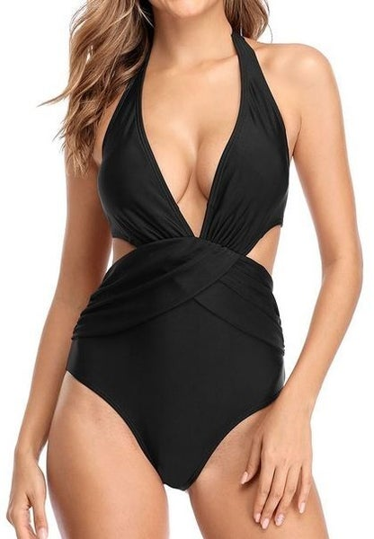 (S-2X & 2 colors) Embrace Confidence Deep V Backless Fashion Monokini Swimsuit