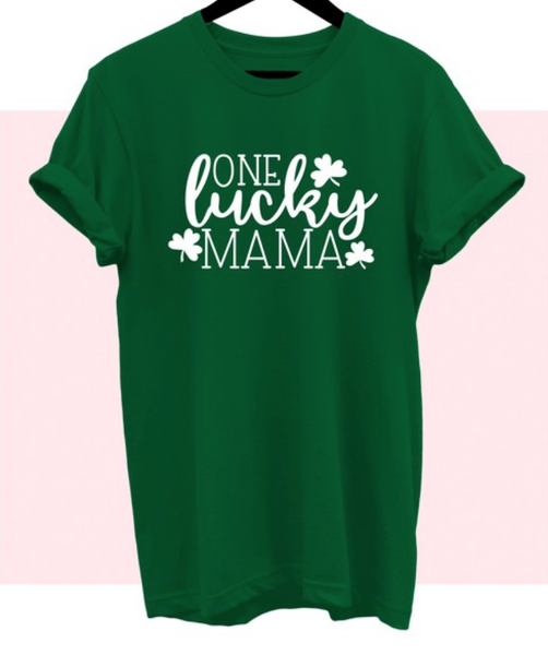 (S-3X, 2 colors) One Lucky Mama Graphic tee PREORDER