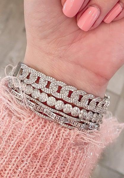 (rose, gold or silver) Braided Bling Bracelet