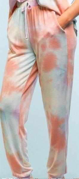 Light Tie Dye Soft Knit Loungewear Joggers