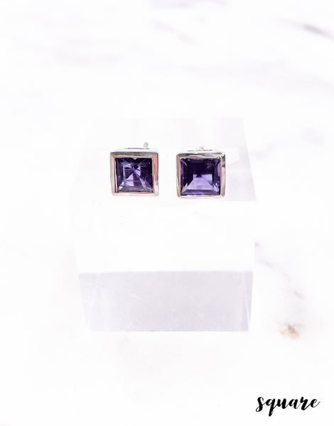(Square, Oval or Circle) Sapphire Stud Earrings
