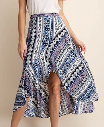 (Kori America) High Low Hem Stripe Skirt